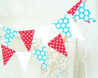 Wedding Cake Topper Banner, Fabric Cake Bunting, Polka Dots, Aqua Blue, Red, Birthday Party Cake, Baby Shower Banner, July 4 Banner Decor
