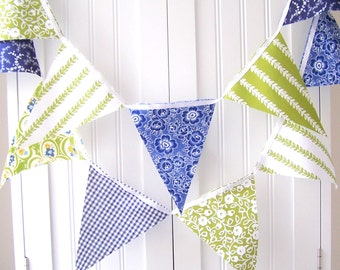Wedding Banner Bunting, Cotton Fabric Pennant Flags, Garland Vintage Style Navy Blue, Green, Birthday Party Garland, Baby Shower, Photo Prop