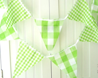 Banner, Bunting, Gingham Fabric Flags, Garland Vintage Style Lime Green, Wedding Decorations, Baby Shower, Nursery Decor, Birthday Party