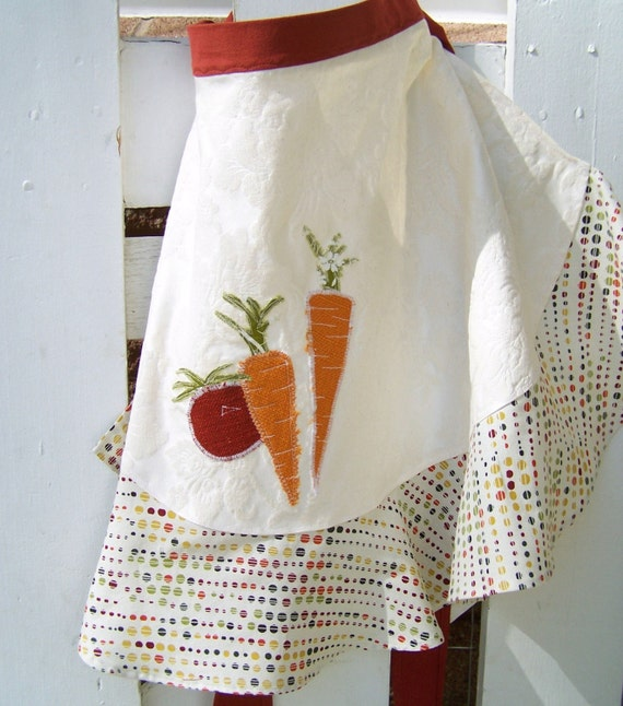 Carrot and Tomato Polka dot Vegetable Spring Garden Apron
