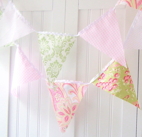 9 Feet Party Banner, 21 Flag Bunting, Cottage Pastels Pink Gingham, Green Damask, White, Yellow Paisley, Wedding Decoration