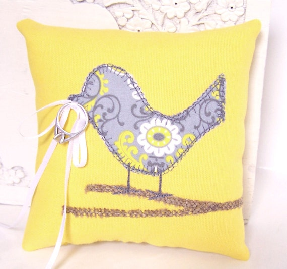 Love Bird Wedding Ring Bearer Pillow Modern Lemon Yellow