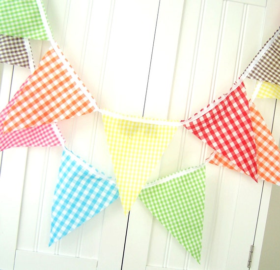 Banner, Bunting 21 Fabric Flags, 9 Feet, Safari Gingham, Red, Orange, Lime Green, Yellow, Hot Pink and Brown, Birthday Party