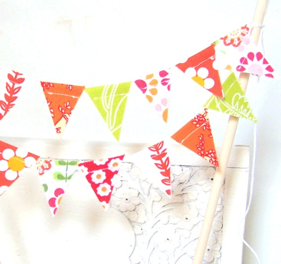 Cake Topper Banner, Mini Birthday Party, Wedding, Cake Bunting, Fabric Pennant Flags, Hot Pink, Orange, Lime Green, Summer Wedding, Birthday