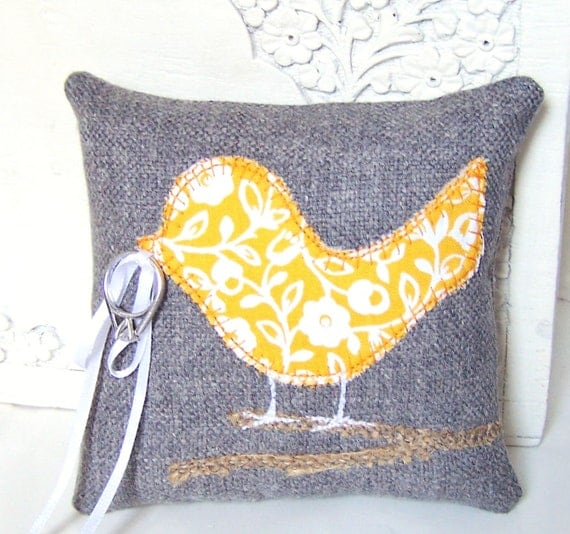 Modern Ring Pillows : Items similar to Love Bird Ring Bearer Pillow, Grey, Modern Yellow Flowers, Burlap Branch ...