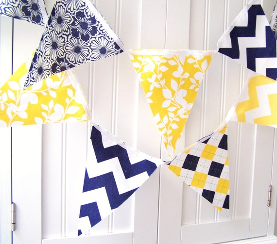 Banner, Bunting, Pennant Fabric Flags, Navy Blue, Bright Yellow Chevron Stripes, Argyle, Flowers, Leaves, Summer Wedding Decor, Baby Nursery