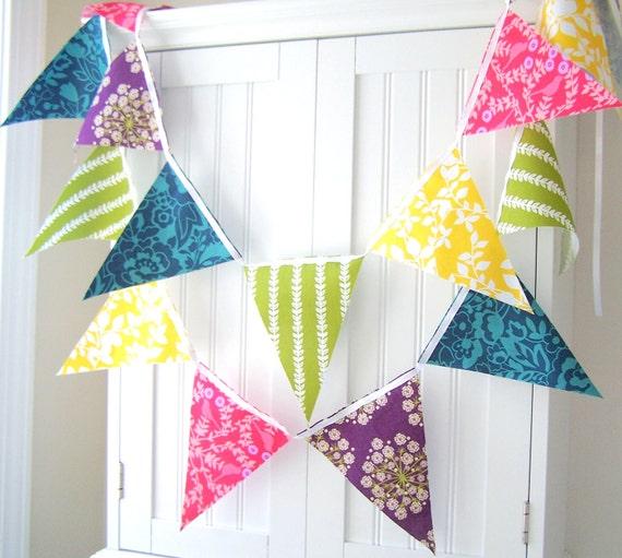 9 Feet Party Banner, 21 Flag Bunting, Yellow Leaf, Pink Birds, Purple Flower, Green Leaf, Teal Blue, Wedding Decor, Birthday Party Banner