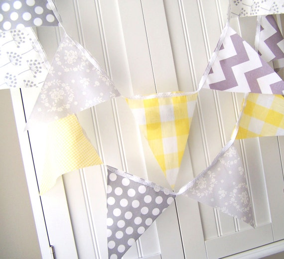 5 Feet Banner, Bunting, 11 Pennant Flags, Vintage Yellow Gingham and Grey Polka Dot, Chevron and Floral, Baby Nursery Decor, Wedding Decor