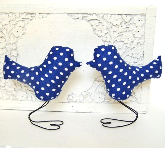 Navy Blue and White Polka Dot Love Birds Wedding Cake Toppers, Home Decor and Summer Wedding, Baby Nursery Decor