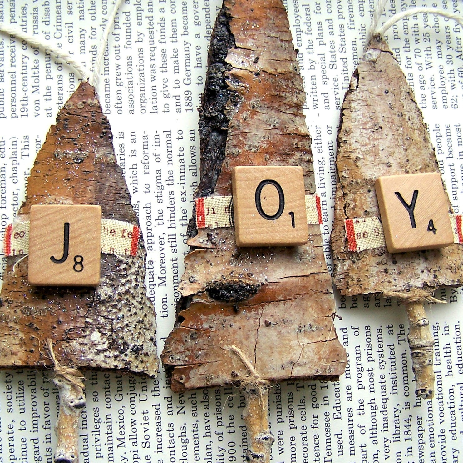 Rustic JOY Tree Bark Christmas ORNAMENTS By Vintagegreenlimited