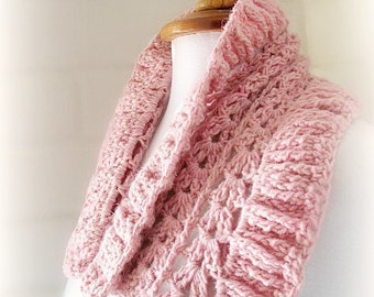 Direct Download PDF pattern crochet Pink cowl scarf stole