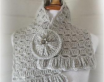 Direct Download PDF pattern crochet Grey cowl scarf stole