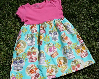 Toddler Dress, Sugar Skull, Dia de los Muertos - pink, aqua, gold