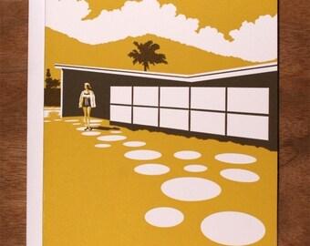 Handmade Letterpress Palm Springs Card