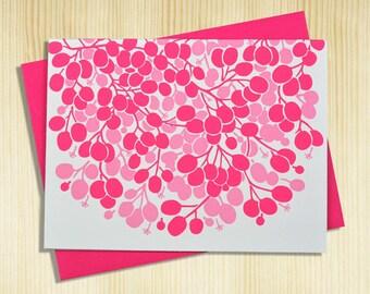 Handmade Letterpress Blush Card