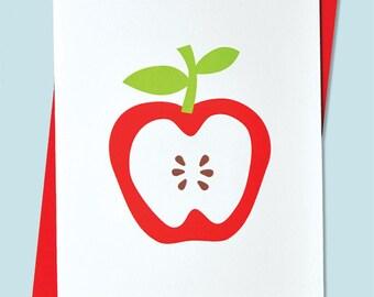 Handmade Letterpress Apple Card