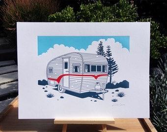Handmade Letterpress Tiny Trailer Print