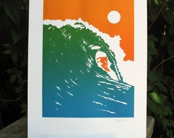 Handmade Letterpress Riding the Wave Print