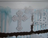 Baptism Celebration Name Banner (God Bless)