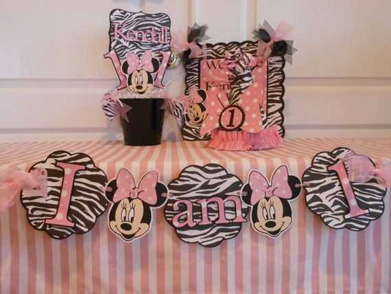 Items similar to minnie mouse zebra ultimate birthday for 1st birthday decoration packages