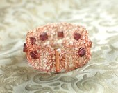 Crocheted copper wire bracelet   FREE Priority Mail Upgrade