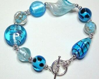 Bracelet Handmade Lampwork Blue Silver Black Stripe Polkadot Bracelet