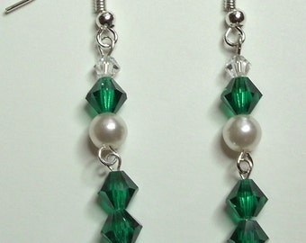 White Pearl Green Czech Swarovski Jet Crystal Silver Handmade  Earrings