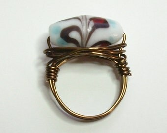 Lampwork Brown Red White Blue Antique Bronze Handmade Wire Wrapped Ring Sizes 1-14