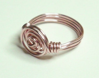 Rose Gold Spiral Handmade Wire Wrapped Ring Sizes 1-14