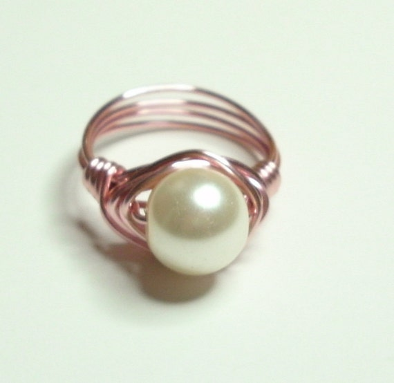 Pearl and RoseGold Wire Wrapped Ring  Size 7