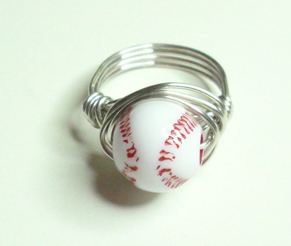 Baseball Red White Silver Handmade Wire Wrapped Ring Sizes 1-14