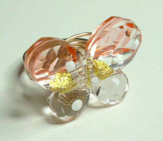 Orange Yellow And White Butterfly Ring Wire Wrapped With Merlin's Gold 20 Gauge Wire Sizes 1-14