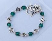 Emerald Swarovski Crystal - Celtic Knot Bracelet With Flower Toggle