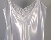 White Satin Beaded Lace Camisole - Ladies Size Small White Tank- Missies Silky White Blouse - by passintimeandchimes On Etsy