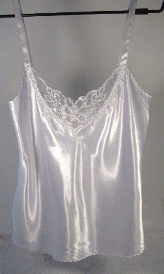 White Satin Beaded Lace Camisole Ladies Size Small White