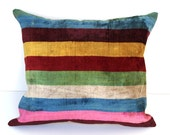 Decorative Turkish Ikat Throw Pillow Cover by DivanCushu : Handwoven Silk VELVET IKAT Pillow, 16x18inch, Red, Blue, Beige, Pink, Green