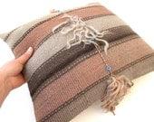 Vintage Turkish KILIM Pillow Cover, Kilim Throw Pillow by DivanCushu : 15x16inch, Decorative Kilim Pillow, Throw Pillow, Beige, Brown, Peach