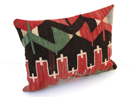 Decorative Pillows, Hand-woven Vintage Turkish KILIM Pillow Cover : 12x16 inch, Soft, Kilim Throw Pillow, Red green Black