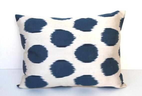 Decorative Ikat Throw Pillow by DivanCushu : Hand-woven IKAT SILK Pillow Cover, 15x20inch, Decorative Cushion, Dark Blue Ikat, Creme