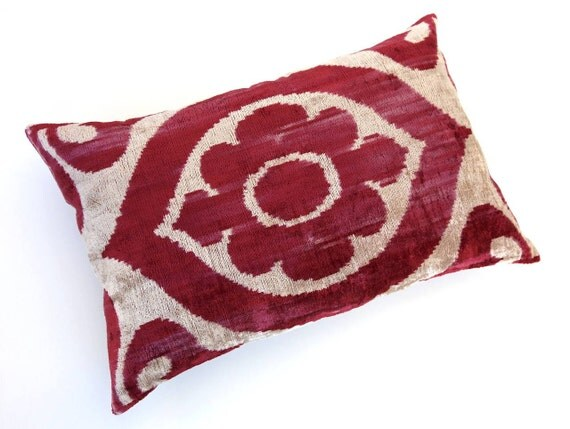 Decorative Turkish Ikat Velvet Throw Pillow Cover Handwoven VELVET IKAT 16x24 inch Authentic Pillow Silk Pillowcase Decorative Red Beige