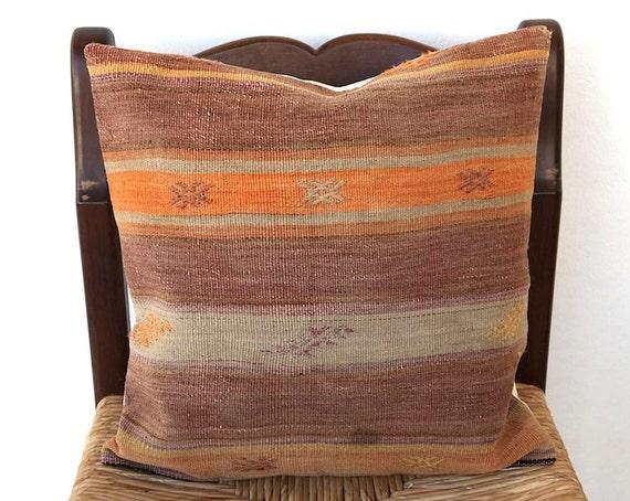 Vintage Turkish KILIM Pillow Cover 19x19 inch Soft Decorative Throw Handwoven Rug Pillow Striped Authentic Cushion Cover Peach Beige Saffron