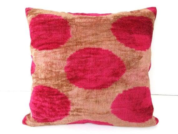 Decorative Ikat Throw Pillow Cover by DivanCushu : Hand-woven IKAT SILK VELVET, 16x16inch, Polka Dot, Pink, Fushia, Beige