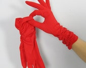25% OFF SALE Vintage 1950's Red Long Party Gloves // Valentine's Day