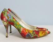 Vintage 1950's Floral Fabric Stiletto Heels Size 7 MAD MEN De Liso Debs