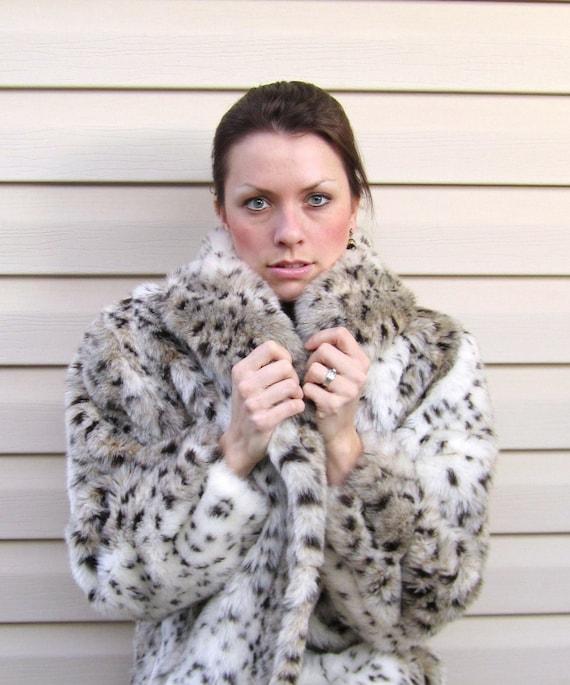 RESERVE 4 S1234 Vintage Faux SNOW LEOPARD Fur Coat Gorgeous & Soft