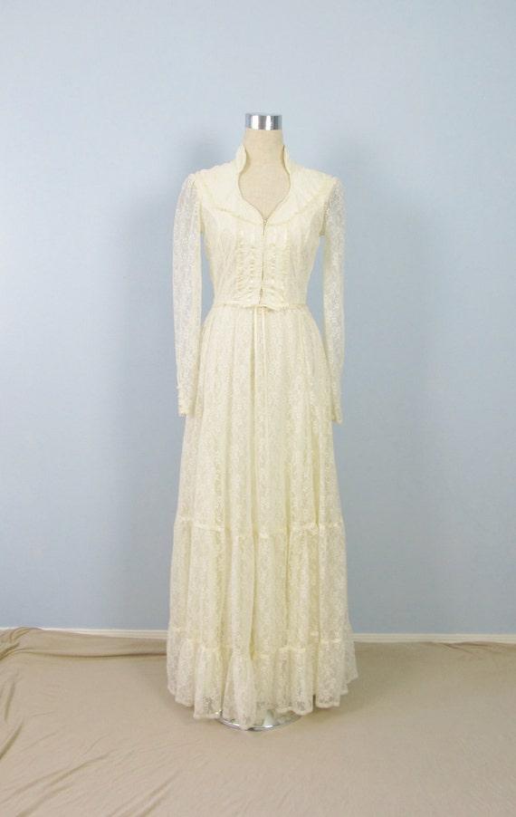 Vintage 1970s GUNNE SAX Dress Creamy White