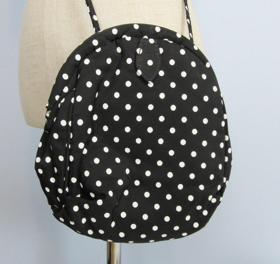 Vintage Black & White Polka-Dot Crossbody Purse