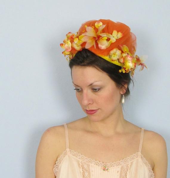 RESERVED Vintage 1950's Orange Floral Pillbox Hat