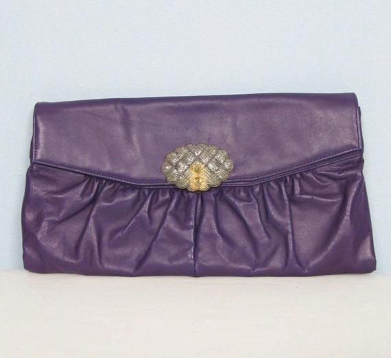 Vintage 1950's Plum Purple Handbag Clutch