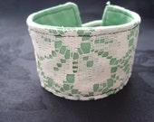 Lace Cuff Band - White and Green Wrist Cuff Bracelet